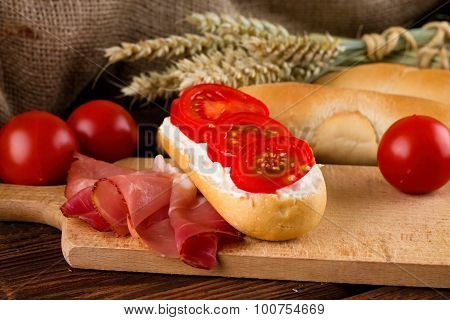 Fresh Baguette With Cheese And Vegetable
