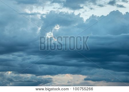 Nimbus Or Rain Clouds Forming In The Sky During The Rainy Season.
