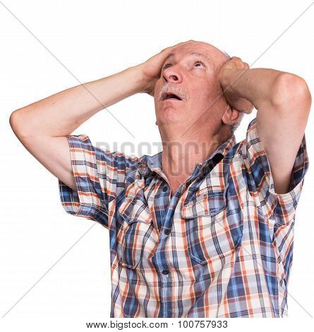 Headache. Elderly man suffering from a headache isolated on white background poster