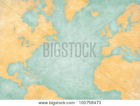 Blank map of North Atlantic Ocean with country borders. The Map is in vintage summer style and sunny mood. The map has soft grunge and vintage atmosphere like watercolor painting on old paper.