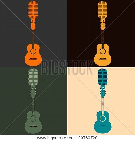 symbol of a guitar and a microphone