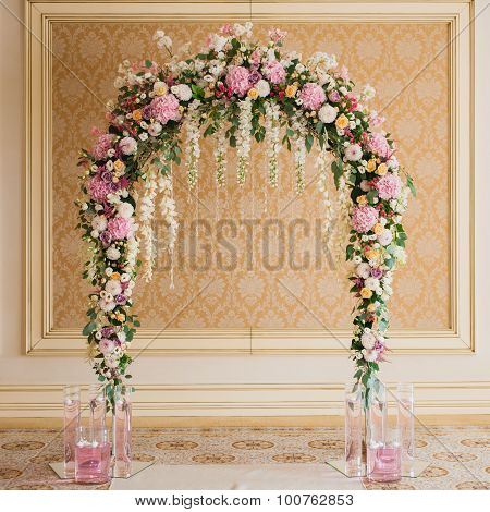 Archway Decorated With Colorful Flowers
