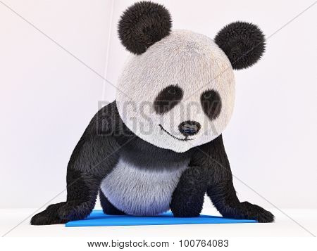Twine Stretching Character Fluffy Fur Panda