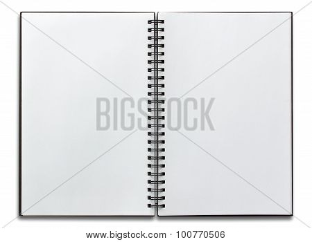 Open Spiral Notebook Isolated On White