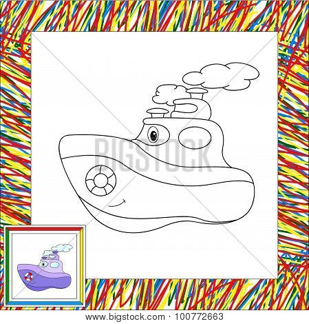 Funny Cartoon Steamship. Coloring Book For Children