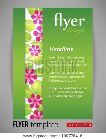 Vector illustration spring floral green flyer template with strip from flowers and leaves