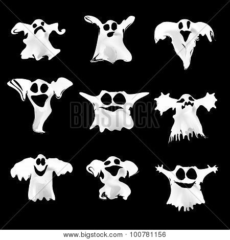 Set of halloween white ghosts with different expressions