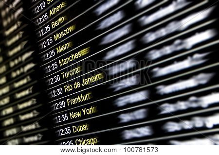 Digital Display At International Airport - Flight Connections With Cities Around The World