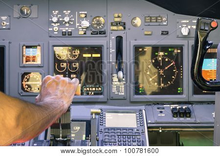 Captain Hand Accelerating On The Throttle In Commercial Airliner Flight Simulator - Cockpit Thrust