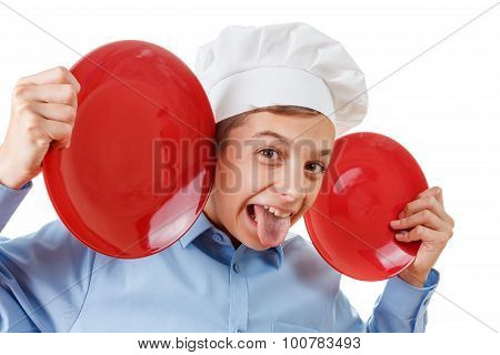 young chef like a monkey grimassy humor in a chef's hat. Isolated on white poster