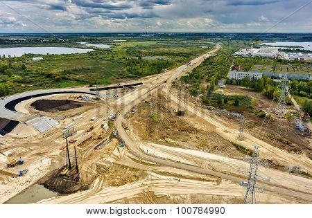Bird eye view on road construction. Tyumen. Russia