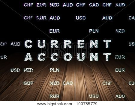 Banking concept: Current Account in grunge dark room