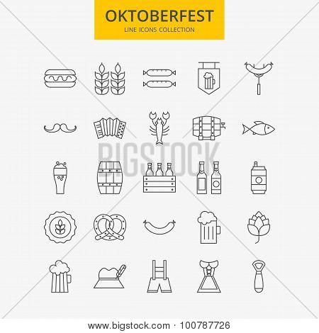 Line Oktoberfest Icons Big Set