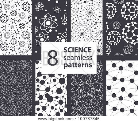 Vector Science Molecules Textures 8 Set Seamless Patterns. Atoms Fullerene