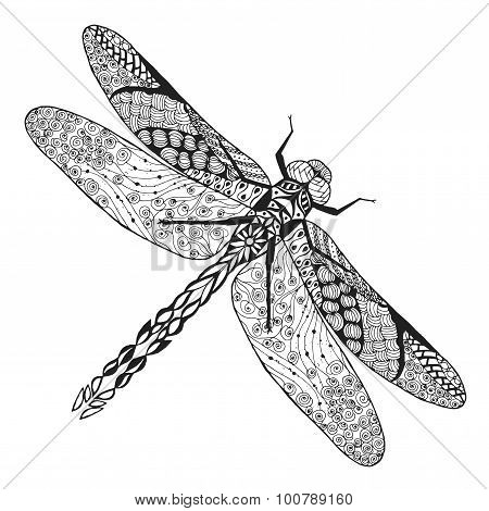 Zentangle stylized dragonfly. Sketch for tattoo or t-shirt.