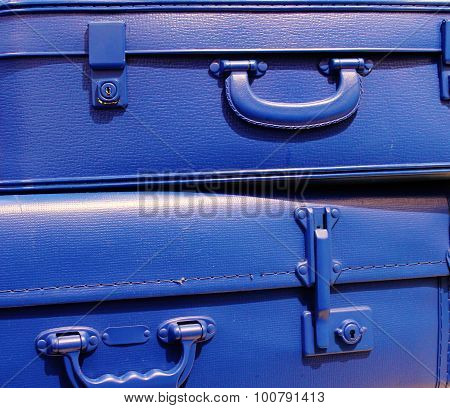 Blue Stacked Vintage Style Suitcases
