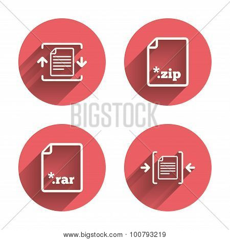 Archive file icons. Compressed zipped document signs. Data compression symbols. Pink circles flat buttons with shadow. Vector poster