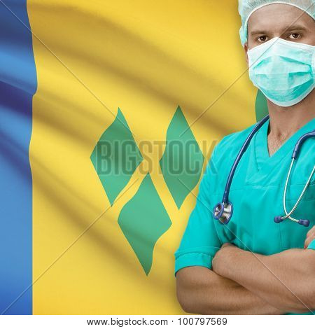 Surgeon with flag on background - Saint Vincent and the Grenadines poster