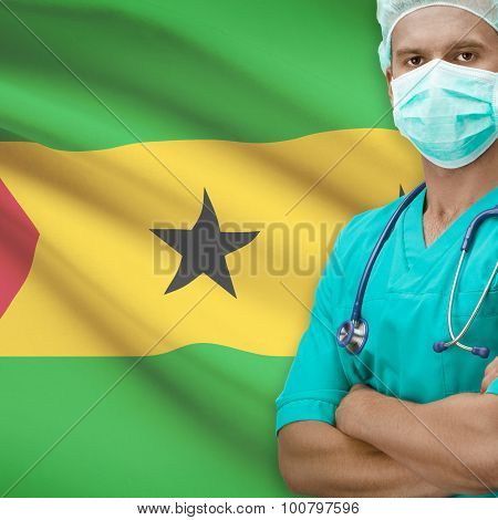 Surgeon With Flag On Background Series - Sao Tome And Principe