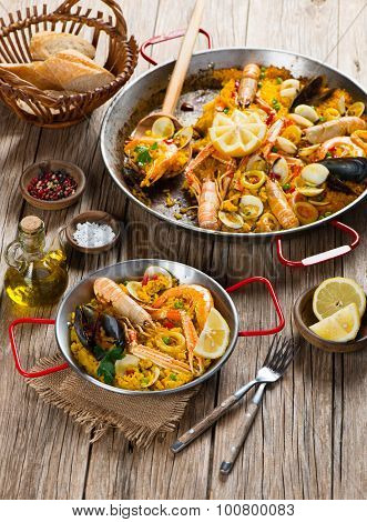 Spanish Paella With Shrimp And Clams