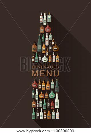 Alcoholic beverages menu. Bottles of alcoholic beverages in bottle shape. Vector flat illustration poster