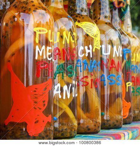 Assortment Of Rhum Bottles At The Market, Squared Format