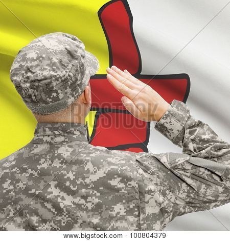 Soldier Saluting To Canadial Province Flag Series - Nunavut