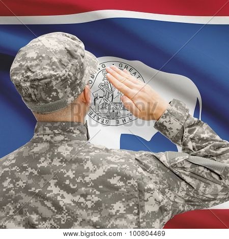 Soldier Saluting To Us State Flag Series - Wyoming
