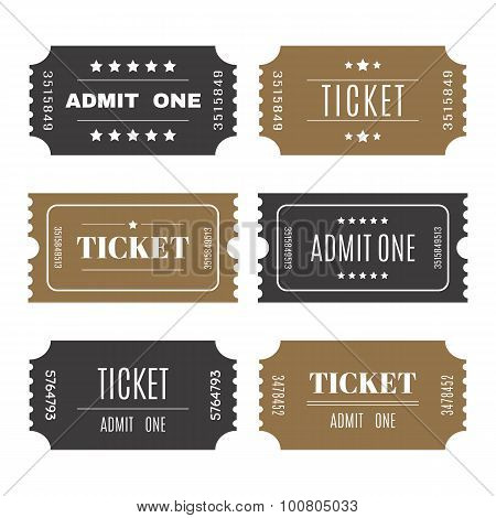 Paper Tickets With Numbers. Set Of Vector Templates Entry Tickets