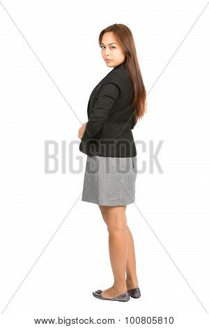 Rear View Head Turned Serious Businesswoman Full