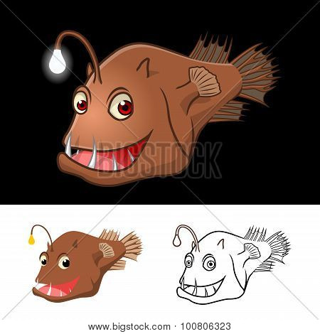 High Quality Anglerfish Cartoon Character Include Flat Design and Line Art Version