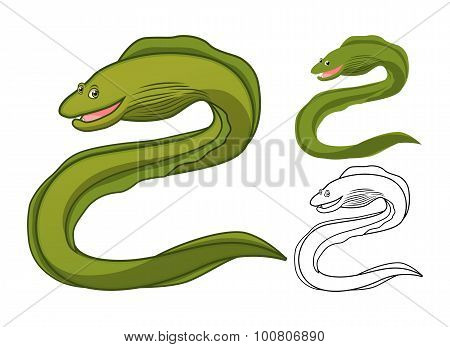 High Quality Moray Eel Cartoon Character Include Flat Design and Line Art Version