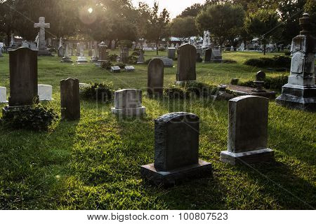 Tombstones at Dusk