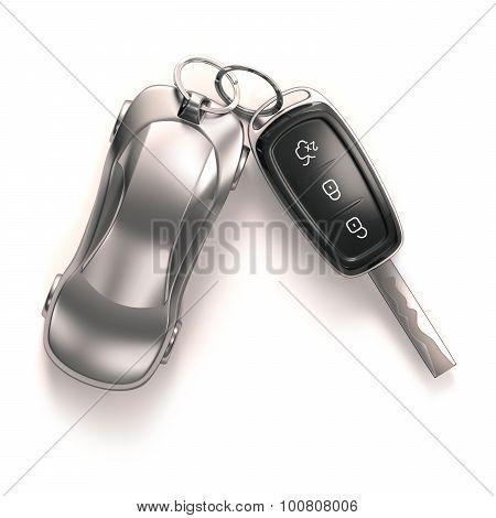 Key Car Over White