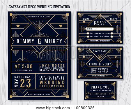 Great Gatsby Art Deco Wedding Invitation Design