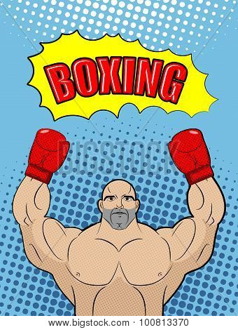 Boxing Champion  Style Of Pop Art With The Babble Box. Athlete Raised His Hands In A Victory Gesture