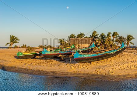 Morning In The Morondava Fishing Port.