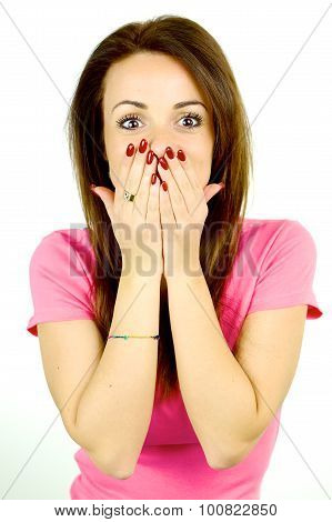 Woman Covering Face With Two Hands Surprised