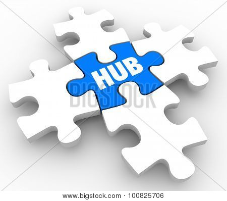 Hub word on puzzle piece in center or middle of connection or network to illustrate the integral pivot point in an organized system or process