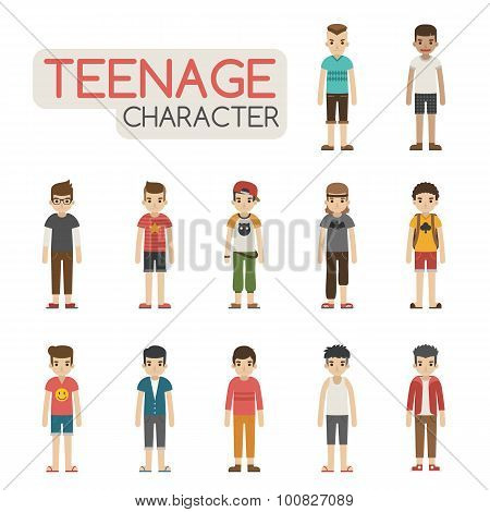 Set Of Cartoon Teenagers Characters