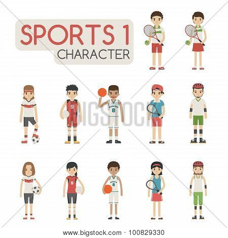 Set Of Cartoon Sport Characters