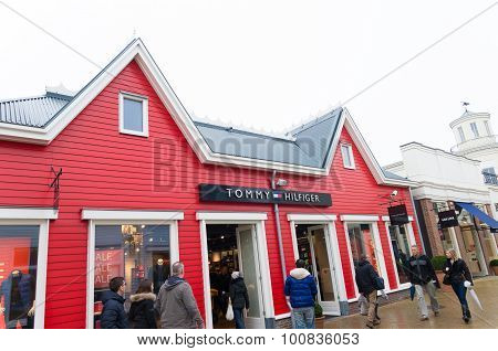 LELYSTAD NETHERLANDS - JANUARY 25 2015: Exterior of Tommy Hillfiger store at the Batavia Stad Fashion Outlet. It is the first factory outlet center in the netherlands