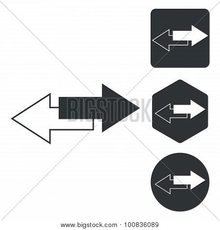 Opposite icon set, two opposite arrows, monochrome, isolated on white poster