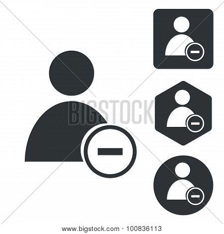 Delete user icon set, monochrome, isolated on white poster