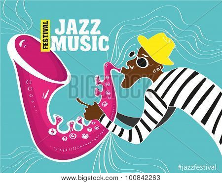 illustration of a Jazz poster with saxophonist
