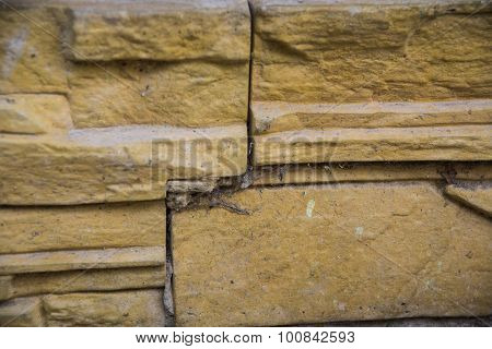 beige brick wall background. The texture of the wall.