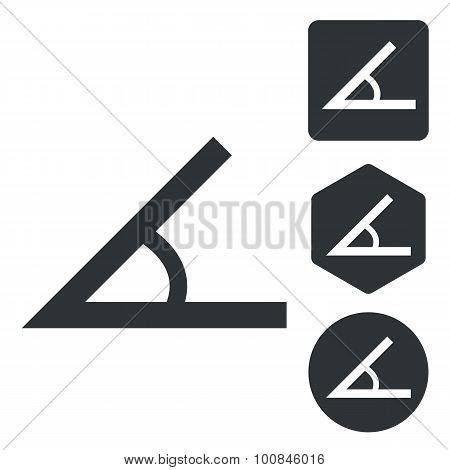 Angle icon set, monochrome