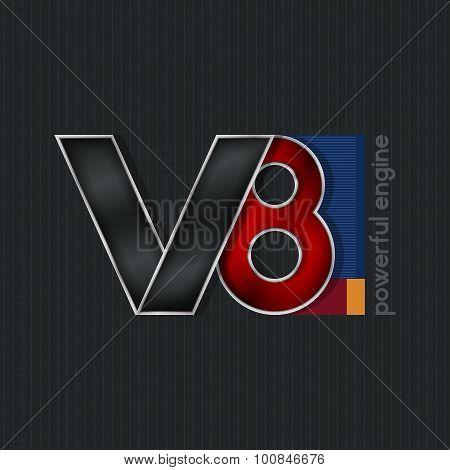 V8,  Bright Volumetric Emblem V8