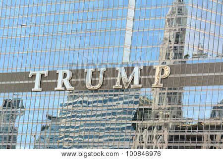 CHICAGO, ILLINOIS - AUGUST 22, 2015: Trump Tower sign. The Trump International Hotel and Tower, aka Trump Tower, is a skyscraper condo-hotel in downtown Chicago, Illinois.