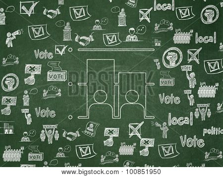 Politics concept: Chalk White Election icon on School Board background with  Hand Drawn Politics Icons poster